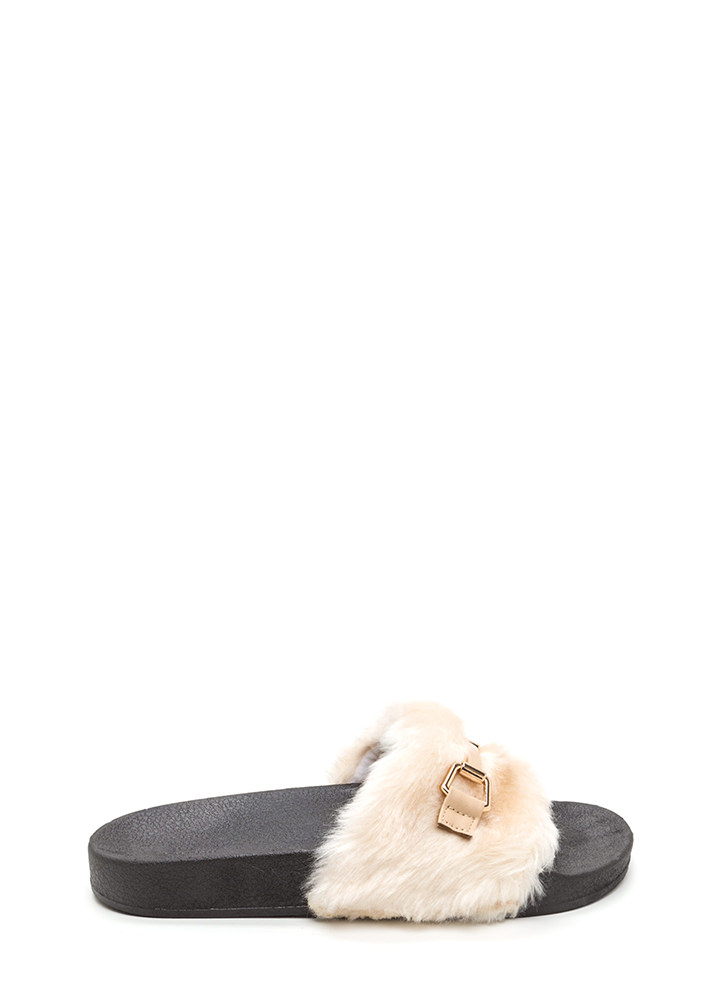 Just Fur You Glam Slide Sandals BEIGE