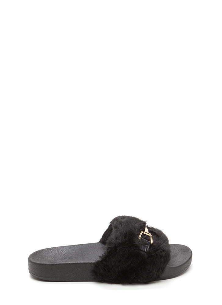 Just Fur You Glam Slide Sandals BLACK