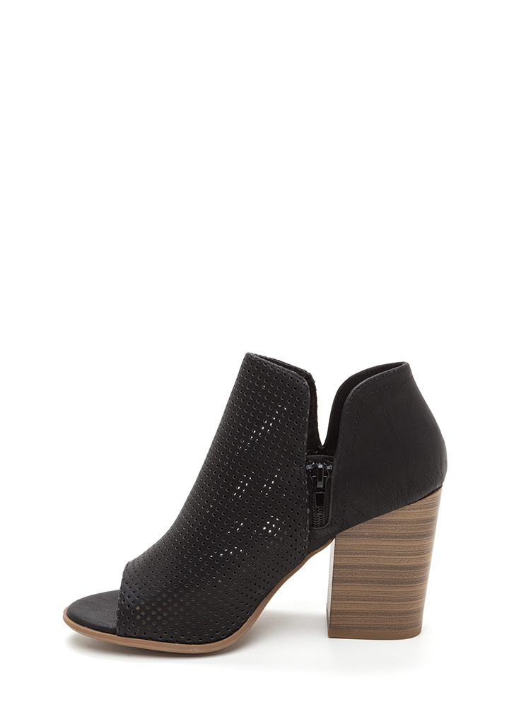 Slit Decision Chunky Perforated Booties BLACK