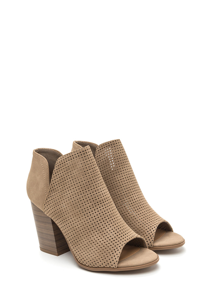 Slit Decision Chunky Perforated Booties LTTAUPE