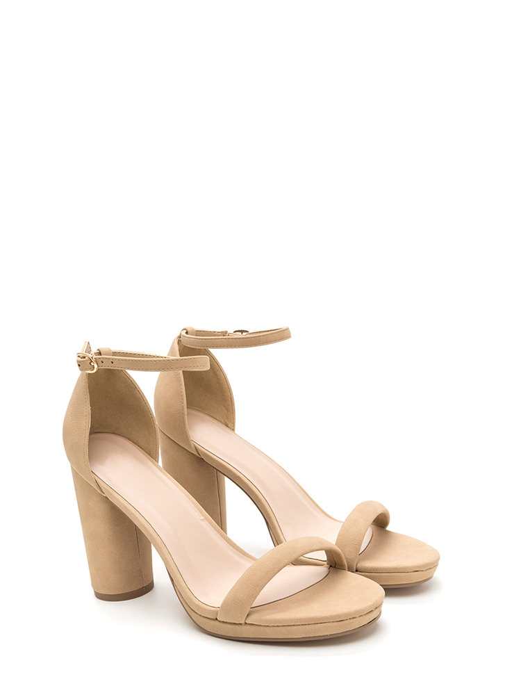 Chic 'N Easy Chunky Faux Nubuck Heels NATURAL