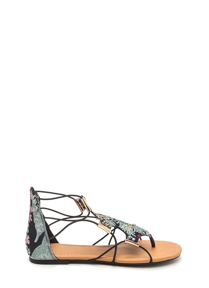 Chic Moment Caged Embroidered Sandals BLUE