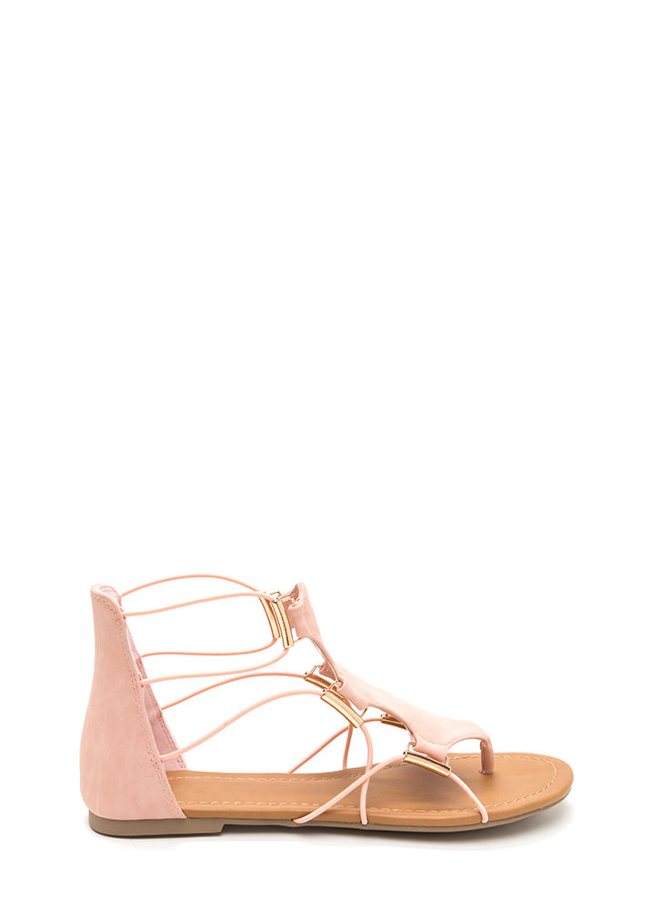 Chic Moment Caged Faux Nubuck Sandals PINK