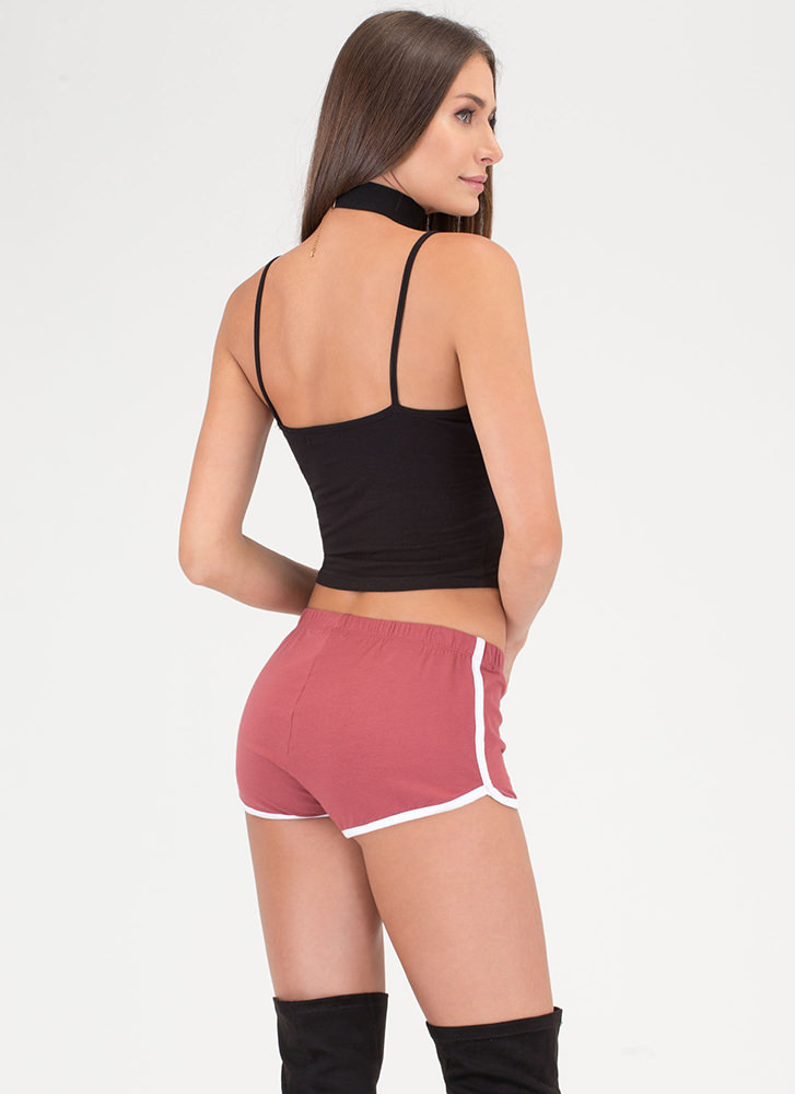 Gym Time Sporty Piped Trim Shorts MARSALA