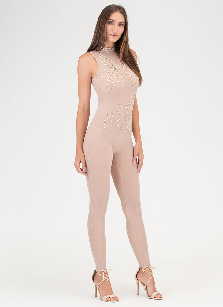 Front And Center Sheer Jeweled Jumpsuit NUDE