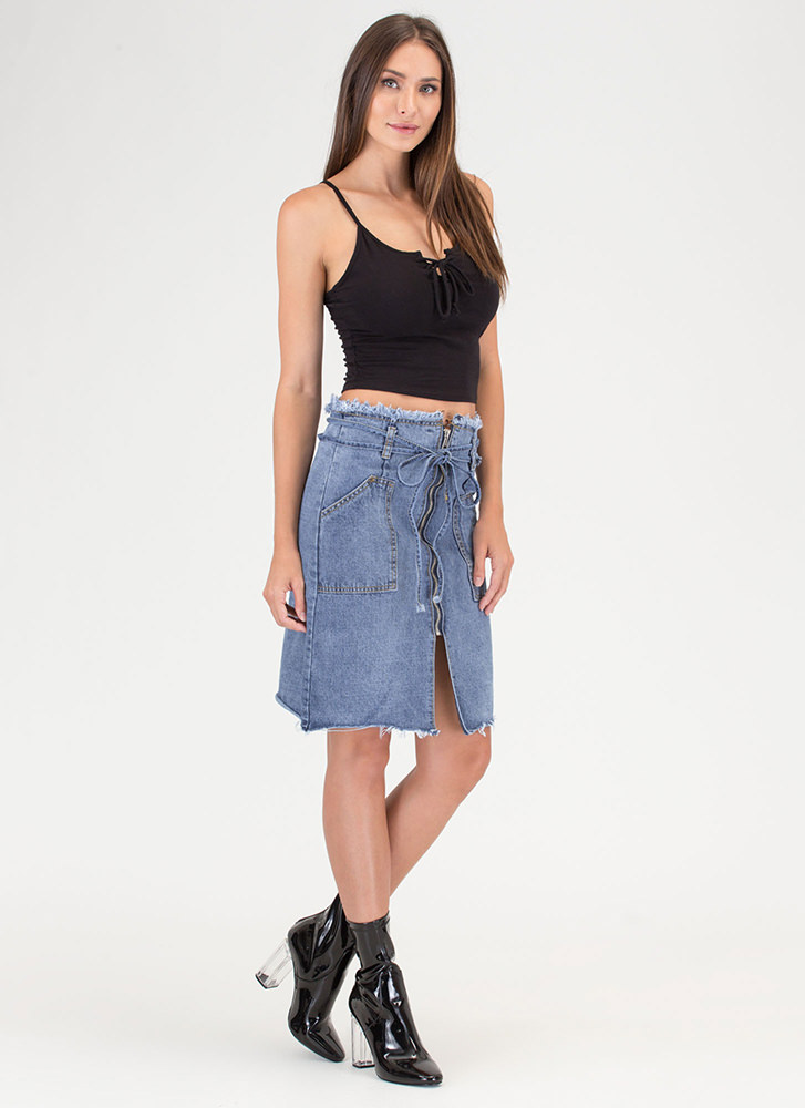 Jean Everything Zip-Up Paper-Bag Skirt BLUE