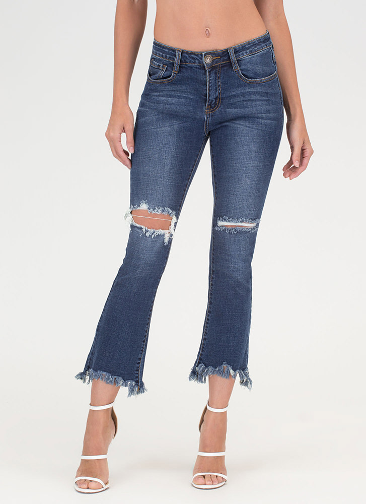 Fringed Flare Cropped Distressed Jeans BLUE