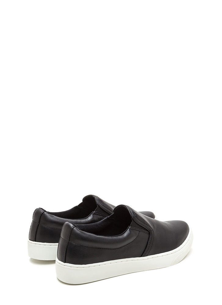 Tip To Toe Faux Leather Slip-On Sneakers BLACK