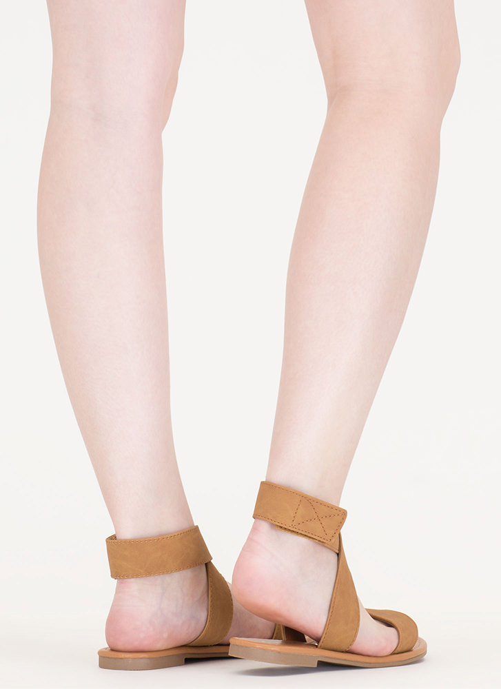 Cross My Mind Faux Leather Sandals TAN