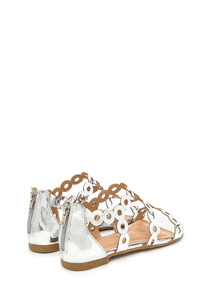 Round Trip Caged Metallic Sandals SILVER