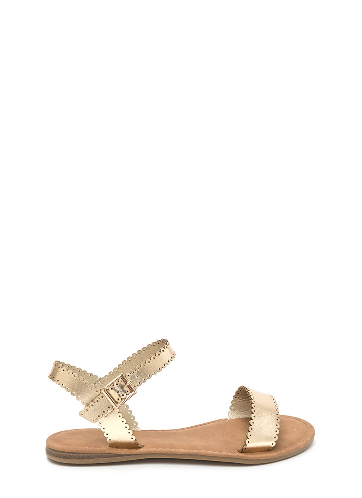 Sweet Charm Strappy Metallic Sandals GOLD