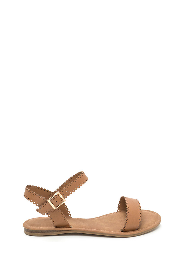 Sweet Charm Strappy Faux Leather Sandals TAN