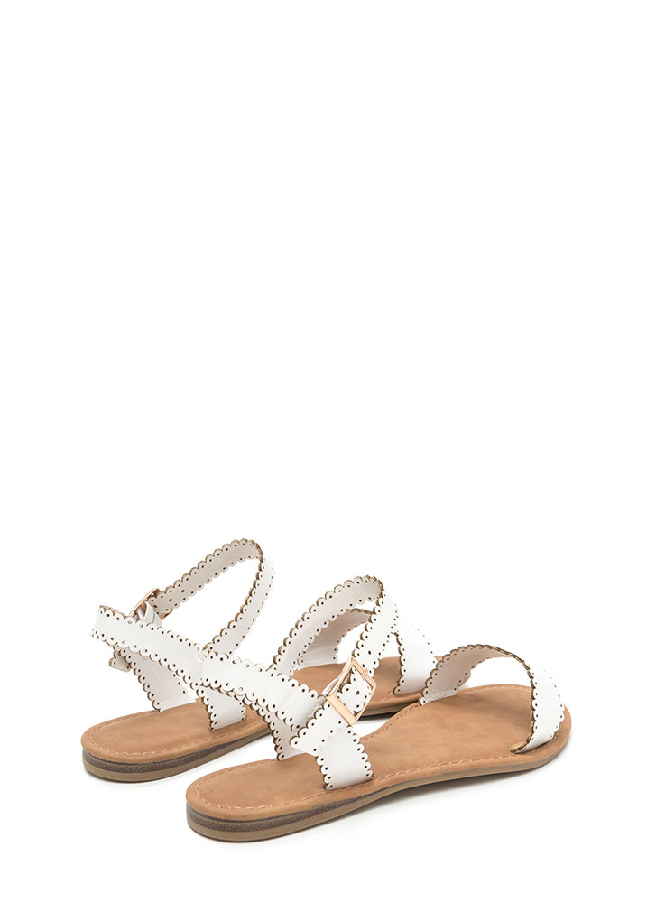 Sweet Charm Strappy Faux Leather Sandals WHITE
