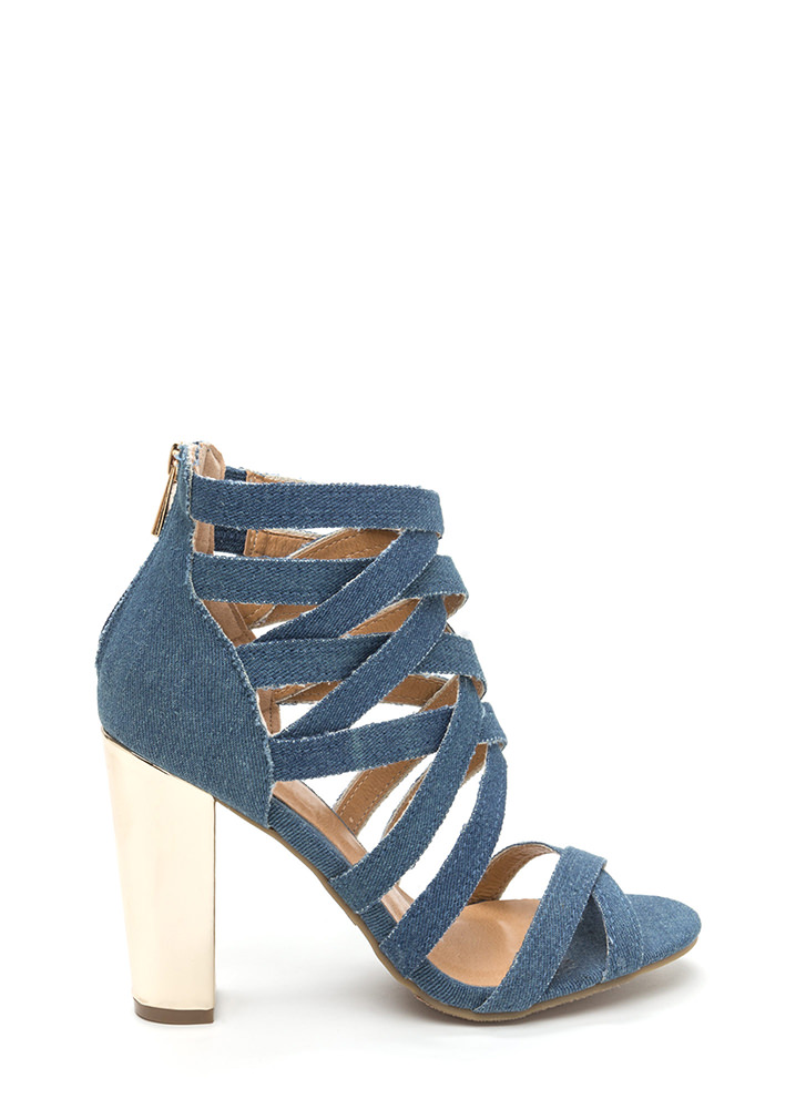 Casual Vibes Chunky Caged Denim Heels BLUE
