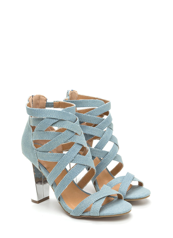 Casual Vibes Chunky Caged Denim Heels LTBLUE