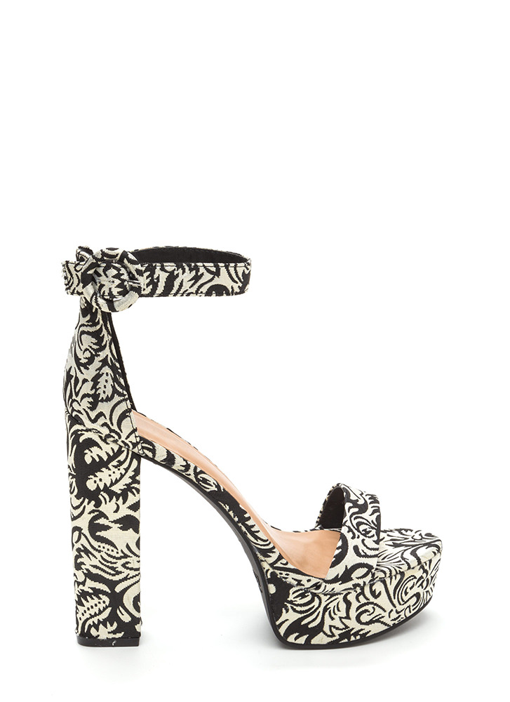 Lift Off Chunky Embroidered Heels BLACKGOLD