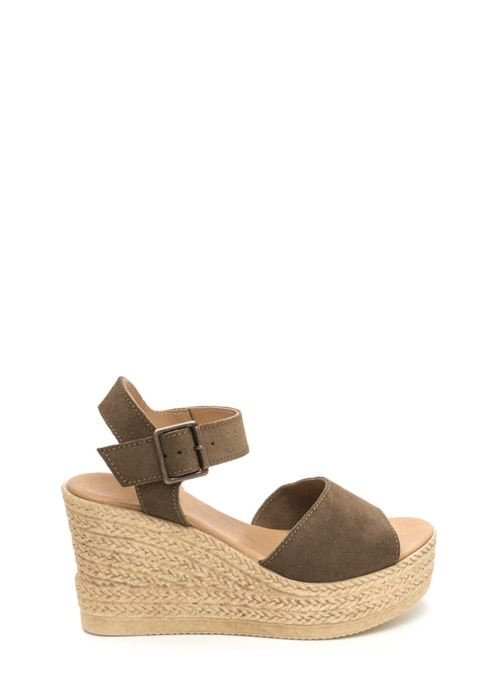 Sea Beyond Faux Suede Espadrille Wedges OLIVE