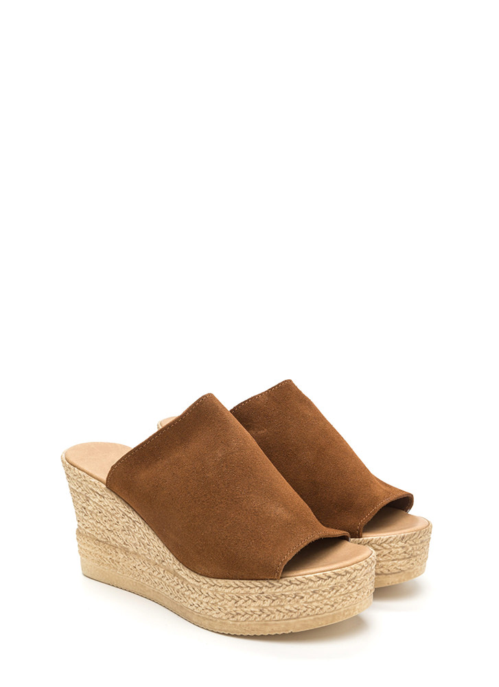 On Holiday Faux Suede Espadrille Wedges COGNAC