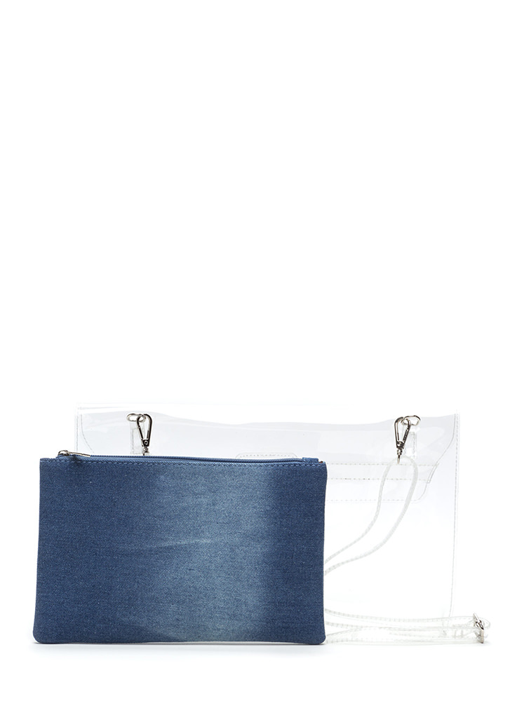 Transparent Motive Flat Denim Clutch LTBLUE