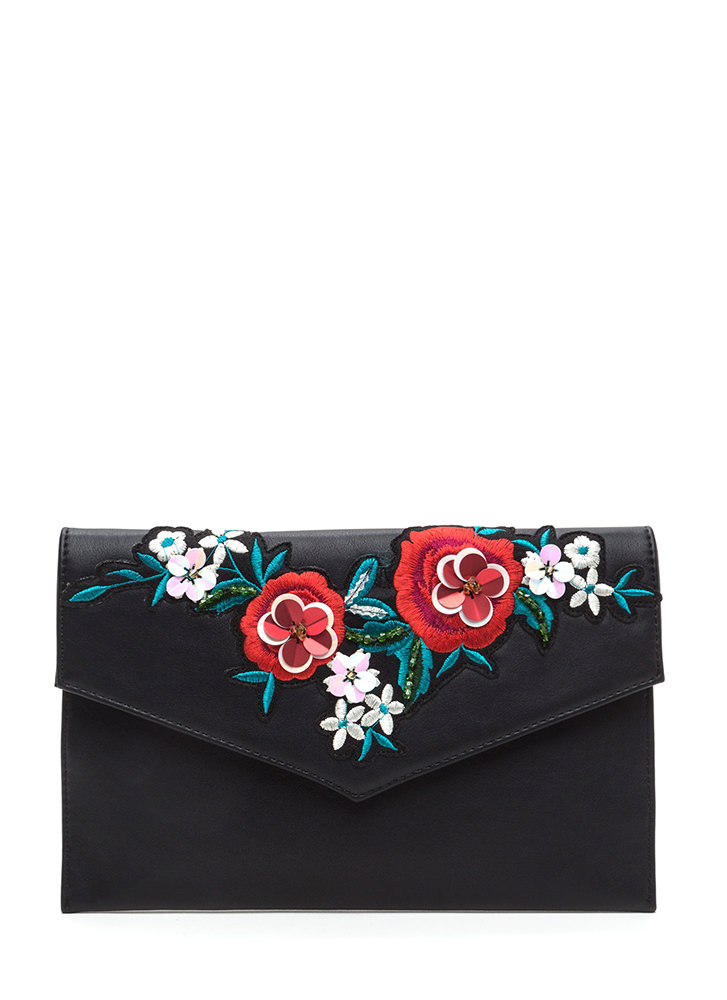 Flowers That Be Embroidered Clutch BLACK