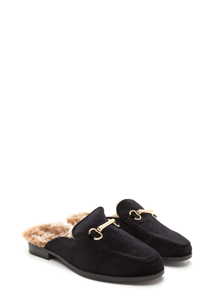 Luxe Lifestyle Furry Velvet Mule Flats BLACK