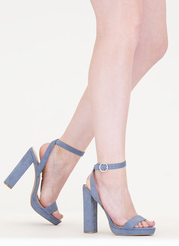 Go Easy Chunky Faux Suede Heels BLUE