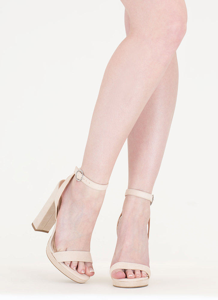Go Easy Chunky Faux Suede Heels NATURAL