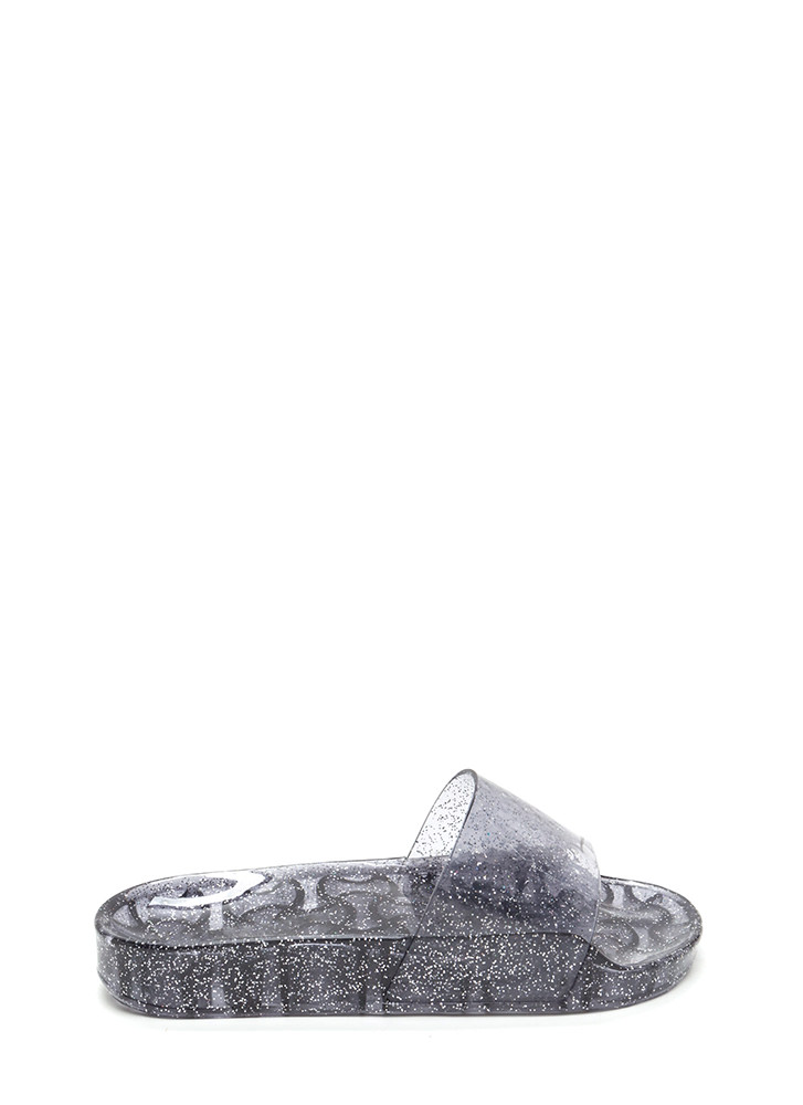 Twinkle Toes Glitzy Jelly Slide Sandals BLACK