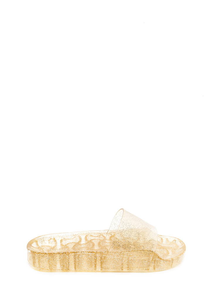 Twinkle Toes Glitzy Jelly Slide Sandals GOLD