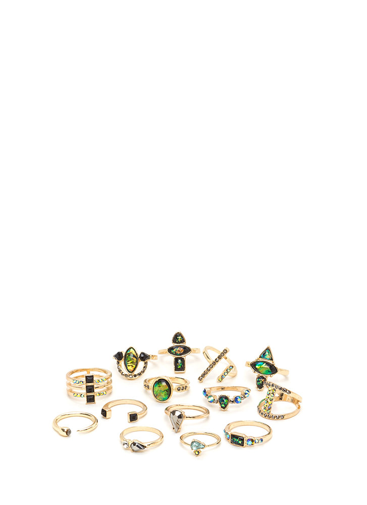 Raise Your Hand Jeweled Ring Set GOLD