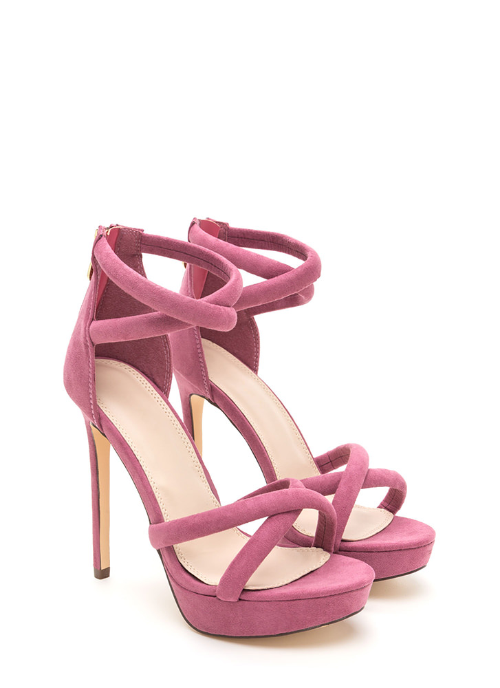 Double Cross Strappy Faux Suede Heels PINK
