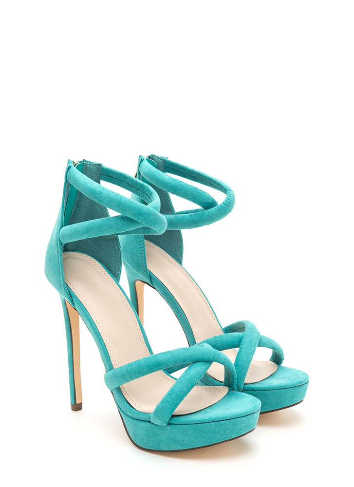 Double Cross Strappy Faux Suede Heels SEAGREEN