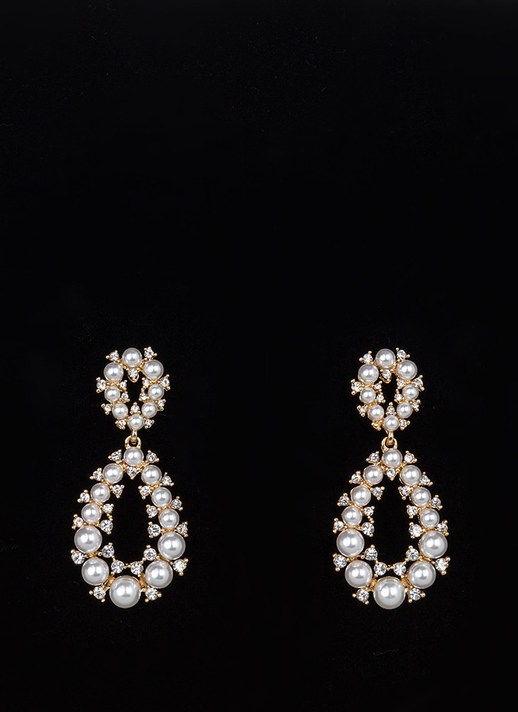 Precious Pearls Jeweled Droplet Earrings IVORYGOLD
