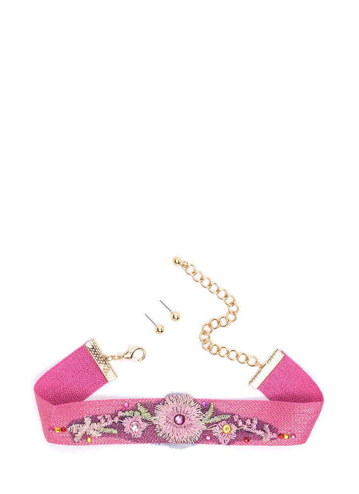 Wildflower Embroidered Choker Set PINKMULTI