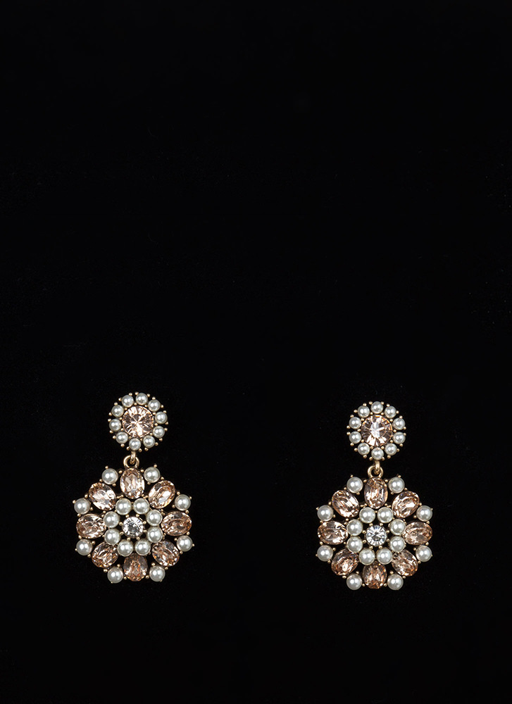 Precious Pearls Jeweled Round Earrings ROSEGOLD