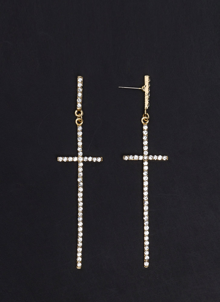 Cross Out Oversized Jeweled Earrings GOLD