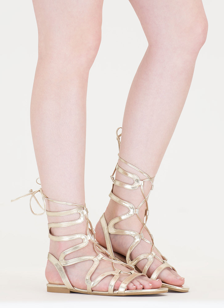 Waving Hello Metallic Gladiator Sandals GOLD