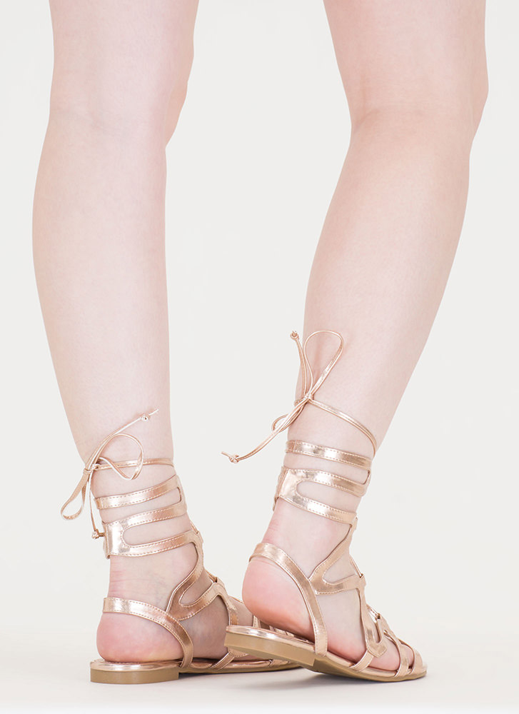 Waving Hello Metallic Gladiator Sandals ROSEGOLD