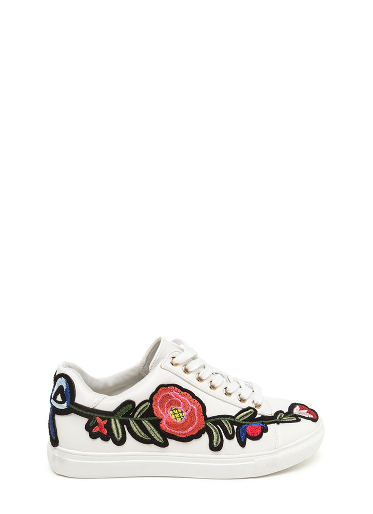 Sew Cute Applique Flower Sneakers WHITE