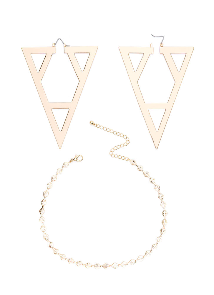 Try Angles Cut-Out Necklace Set GOLD