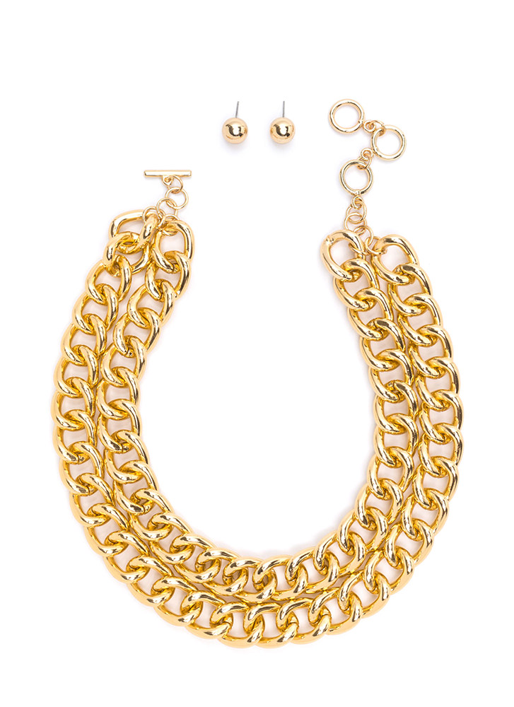 More To Love Double Chain Necklace Set GOLD