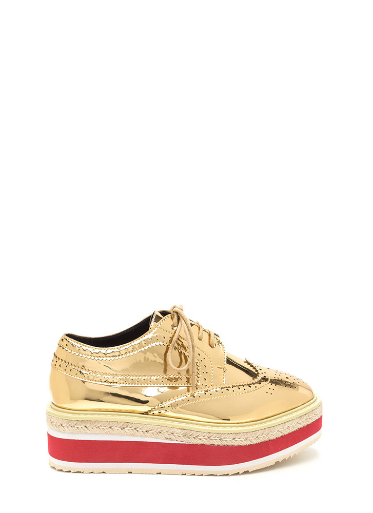 Dapper Style Metallic Oxford Flatforms GOLD