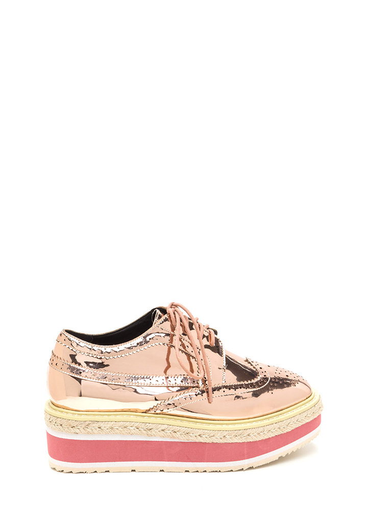 Dapper Style Metallic Oxford Flatforms ROSEGOLD