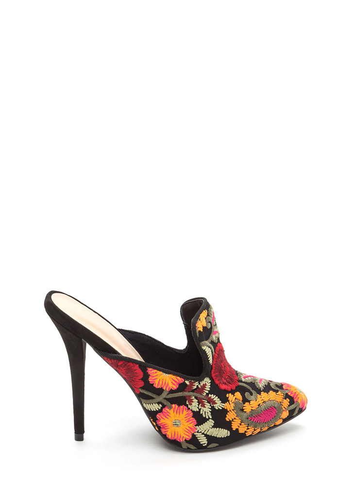 Bloom For Two Embroidered Mule Heels BLACK