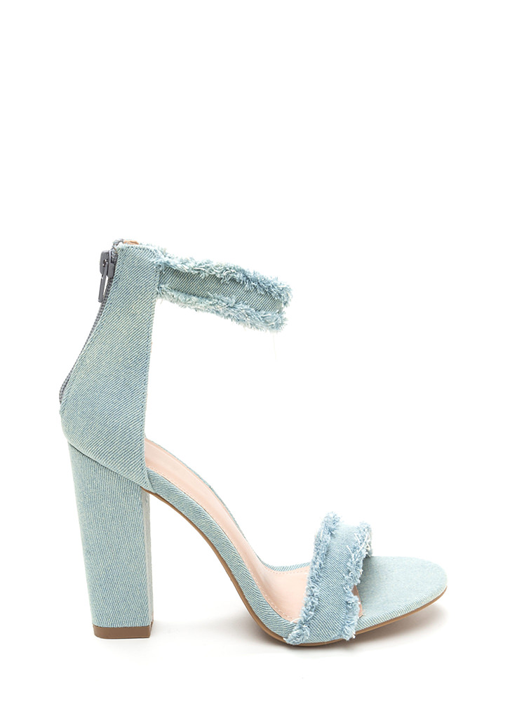 Fray A Game Chunky Strappy Heels BLUE