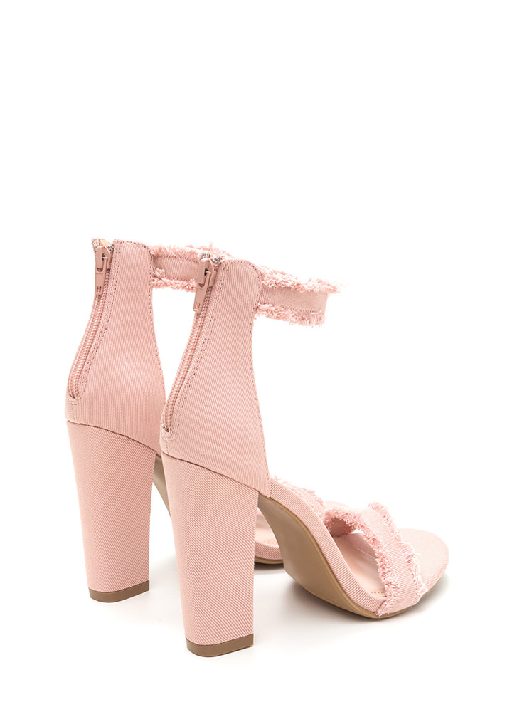 Fray A Game Chunky Strappy Heels PINK