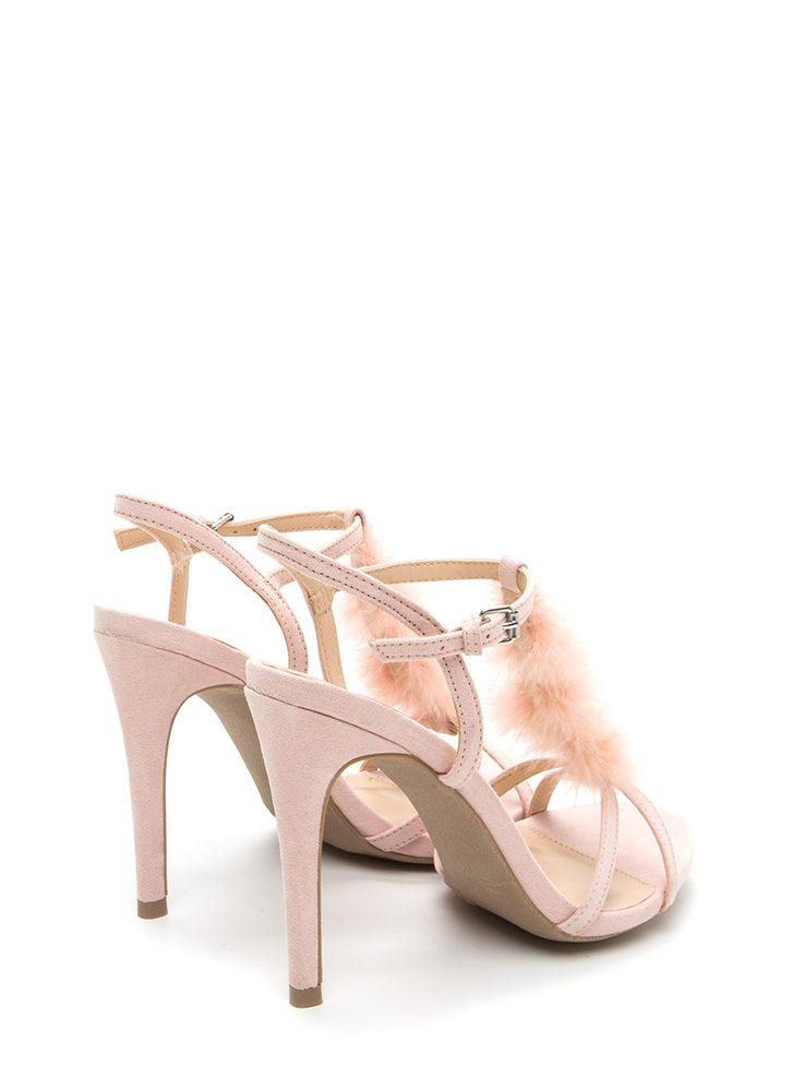 Feather Or Not Caged Faux Suede Heels NUDE