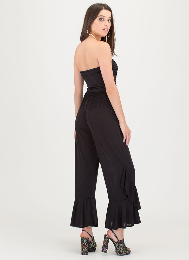 Flare Decision Ruched Strapless Jumpsuit BLACK