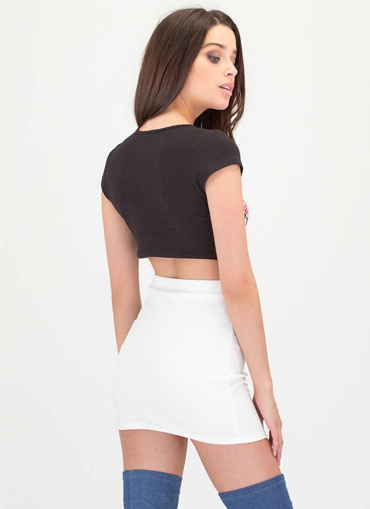 Hoop There It Is Zip-Up Miniskirt IVORY
