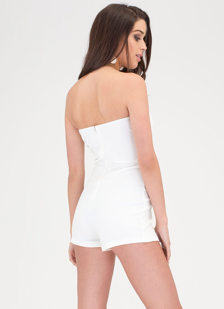 Tie Job Strapless Lace-Up Romper IVORY